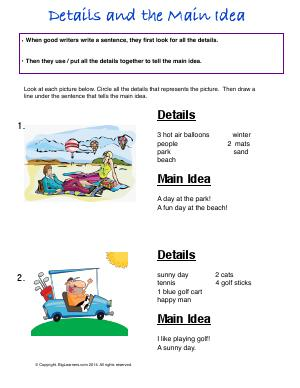 Preview image for worksheet with title Details and the Main Idea