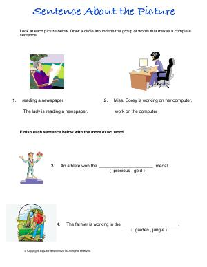 Preview image for worksheet with title Sentence About the Picture