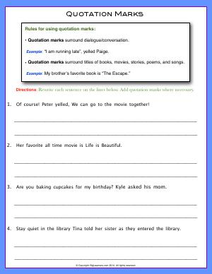 Preview image for worksheet with title Quotation Marks