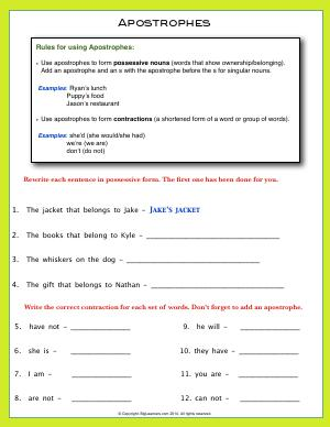 Preview image for worksheet with title Apostrophes
