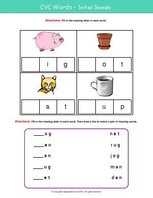 Preview image for worksheet with title CVC Words - Initial Sounds