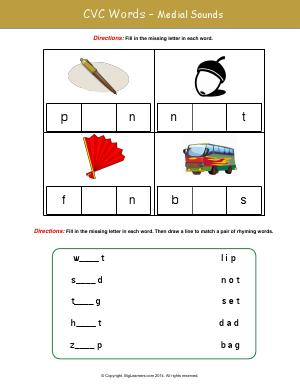 Preview image for worksheet with title CVC Words - Medial Sounds