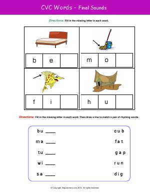 Preview image for worksheet with title CVC Words - Final Sounds