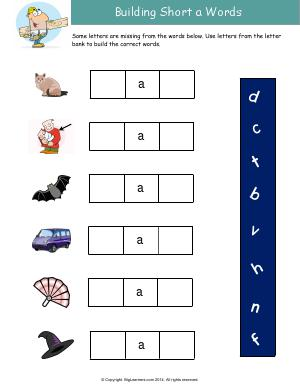 Preview image for worksheet with title Building Short a Words