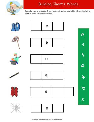 Preview image for worksheet with title Building Short e Words