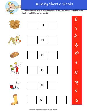 Preview image for worksheet with title Building Short o Words