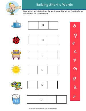 Preview image for worksheet with title Building Short u Words