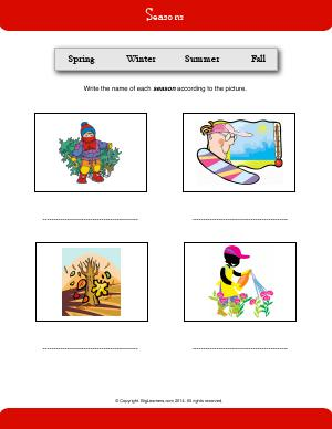 Preview image for worksheet with title Seasons