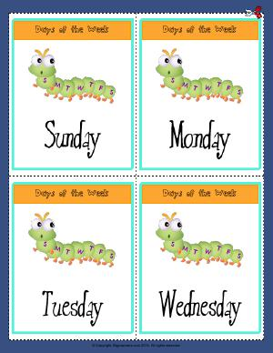 Preview image for worksheet with title Days of the Week  ( Sunday - Wednesday )