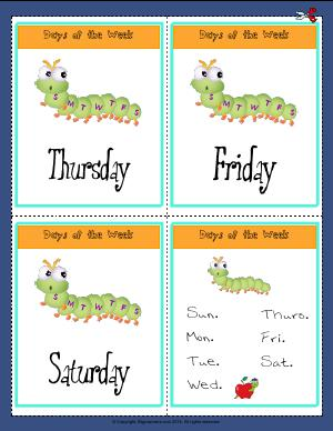 Preview image for worksheet with title Days of the Week  ( Thursday - Saturday )