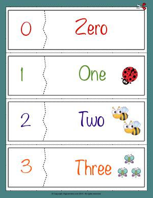 Preview image for worksheet with title Number Names Flashcards ( 0 - 3 )