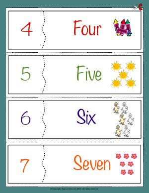 Preview image for worksheet with title Number Names Flashcards ( 4 - 7 )