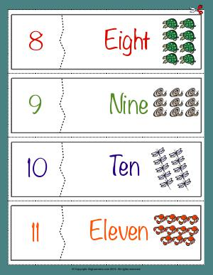 Preview image for worksheet with title Number Names Flashcards ( 8 - 11 )