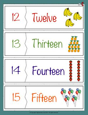 Preview image for worksheet with title Number Names Flashcards ( 12 - 15 )