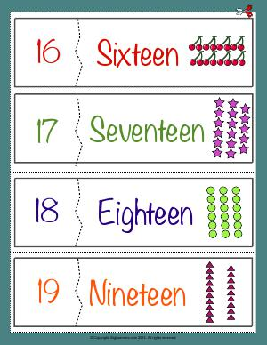 Preview image for worksheet with title Number Names Flashcards ( 16 - 19 )