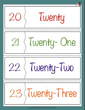 Preview image for worksheet with title Number Names Flashcards ( 20 - 23 )