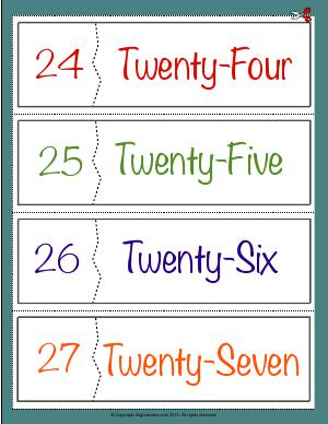 Preview image for worksheet with title Number Names Flashcards ( 24 - 27 )