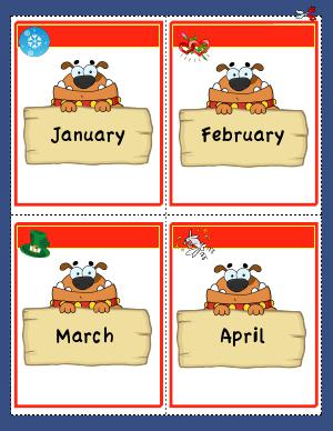 Preview image for worksheet with title Months of the Year Flashcards
