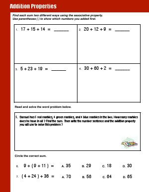 Preview image for worksheet with title Addition Properties 2