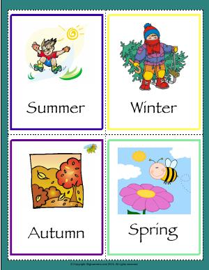 Preview image for worksheet with title Seasons Flashcards