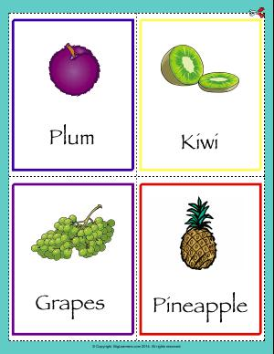 Preview image for worksheet with title Common Fruits Flashcards
