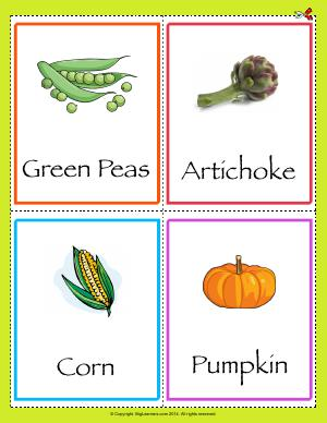 Preview image for worksheet with title Common Vegetables Flashcards
