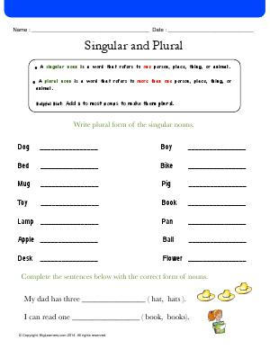 Preview image for worksheet with title Singular and Plural