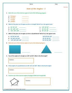 Preview image for worksheet with title Sum of the Angles - I