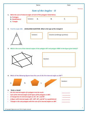 Preview image for worksheet with title Sum of the Angles - II