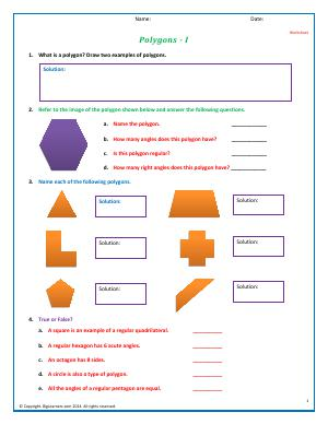 Preview image for worksheet with title Polygons - I