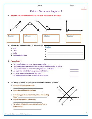 Preview image for worksheet with title Points, Lines, and Angles - I