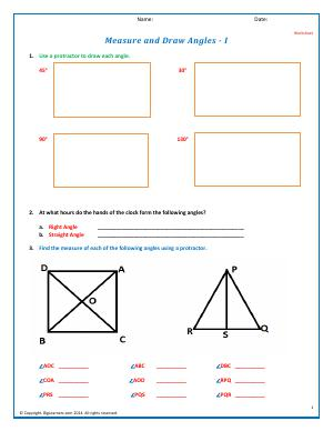 Preview image for worksheet with title Measure and Draw Angles - I
