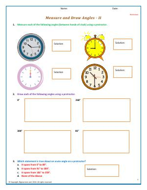 Preview image for worksheet with title Measure and Draw Angles - II