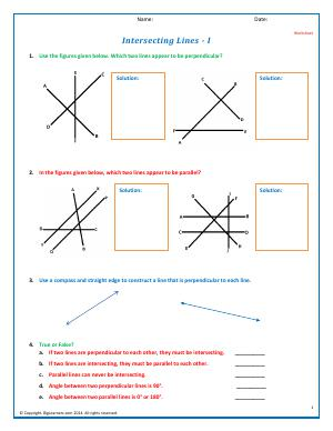Preview image for worksheet with title Intersecting Lines - I