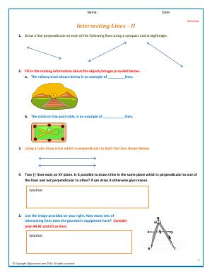 Preview image for worksheet with title Intersecting Lines - II