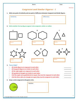 Preview image for worksheet with title Congruent and Similar Figures - I