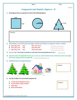 Preview image for worksheet with title Congruent and Similar Figures - II