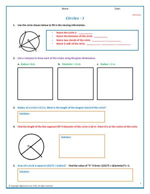 Preview image for worksheet with title Circles - I