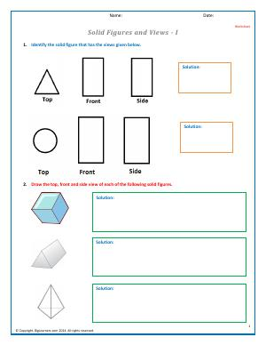 Preview image for worksheet with title Solid Figures and Views - I