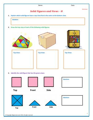 Preview image for worksheet with title Solid Figures and Views - II
