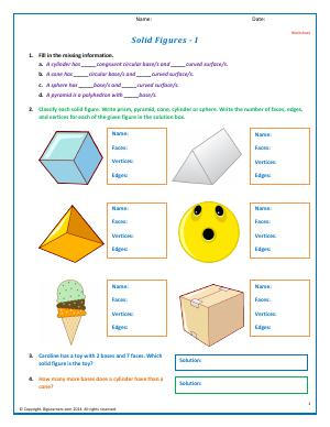 Preview image for worksheet with title Solid Figures - I