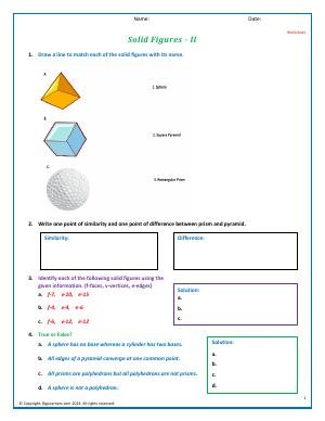 Preview image for worksheet with title Solid Figures - II