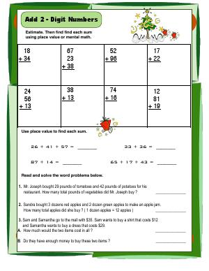 Preview image for worksheet with title Add 2 - Digit Numbers