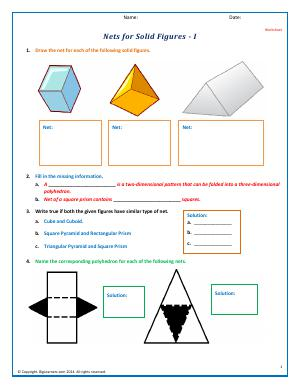 Preview image for worksheet with title Nets for Solid Figures - I