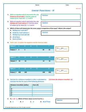 Preview image for worksheet with title Linear Functions - II