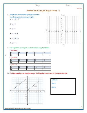 Preview image for worksheet with title Write and Graph Equations - I