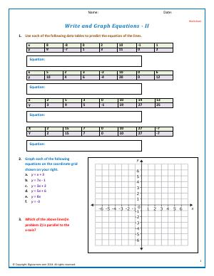 Preview image for worksheet with title Write and Graph Equations - II