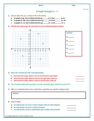 Preview image for worksheet with title Graph Integers - I