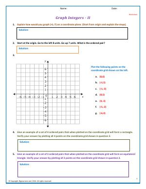 Preview image for worksheet with title Graph Integers - II