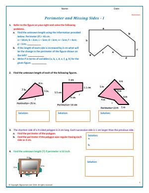 Preview image for worksheet with title Perimeter and Missing Sides - I